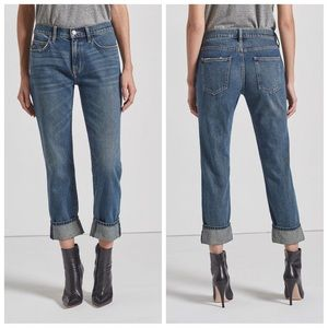 NWT-Chic Fling 1YR Worn Rigid Blue Boyfriend Jeans